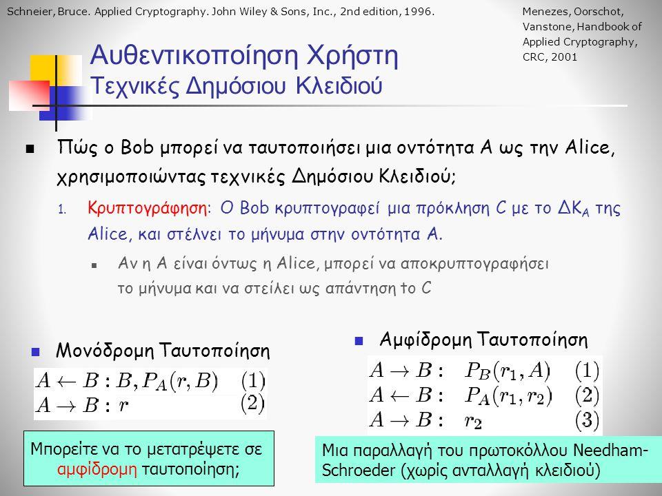 Αυθεντικοποίηση Χρήστη Τεχνικές Δημόσιου Κλειδιού Πώς ο Bob μπορεί να ταυτοποιήσει μια οντότητα Α ως την Alice, χρησιμοποιώντας τεχνικές Δημόσιου Κλει