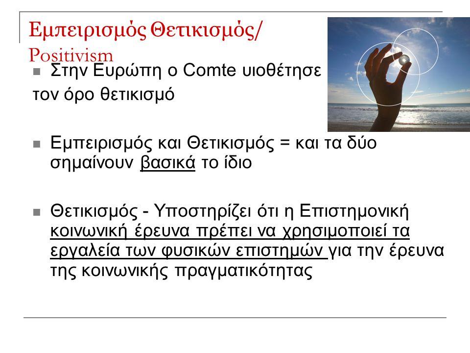 Εμπειρισμός Θετικισμός/ Positivism Στην Ευρώπη ο Comte υιοθέτησε τον όρο θετικισμό Εμπειρισμός και Θετικισμός = και τα δύο σημαίνουν βασικά το ίδιο Θε
