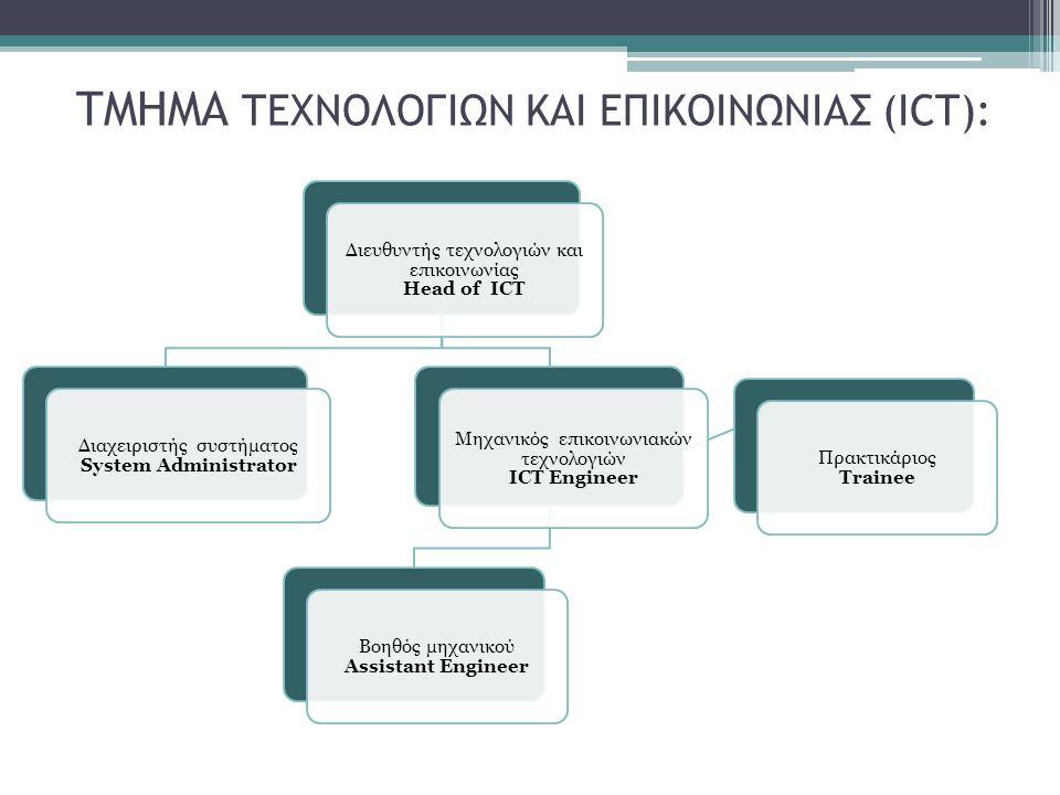 ΤΜΗΜΑ ΤΕΧΝΟΛΟΓΙΩΝ ΚΑΙ ΕΠΙΚΟΙΝΩΝΙΑΣ (ICT): Διευθυντής τεχνολογιών και επικοινωνίας Head of ICT Διαχειριστής συστήματος System Administrator Μηχανικός ε