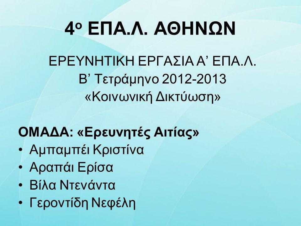 4 ο ΕΠΑ.Λ. ΑΘΗΝΩΝ ΕΡΕΥΝΗΤΙΚΗ ΕΡΓΑΣΙΑ Α' ΕΠΑ.Λ. Β' Τετράμηνο 2012-2013 «Κοινωνική Δικτύωση» ΟΜΑΔΑ: «Ερευνητές Αιτίας» Αμπαμπέι Κριστίνα Αραπάι Ερίσα Βί
