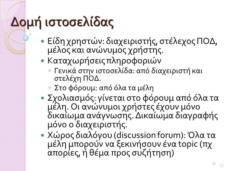 13 Δομή ιστοσελίδας Είδη χρηστών: διαχειριστής, στέλεχος ΠΟΔ, μέλος και ανώνυμος χρήστης.
