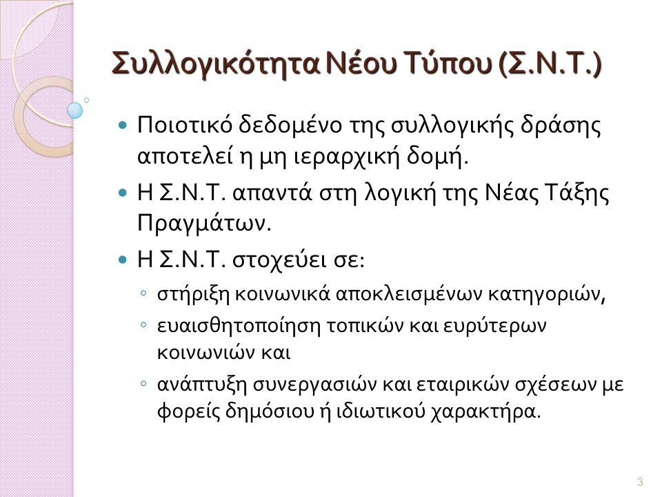 3 Συλλογικότητα Νέου Τύπου (Σ.Ν.Τ.) Ποιοτικό δεδομένο της συλλογικής δράσης αποτελεί η μη ιεραρχική δομή.