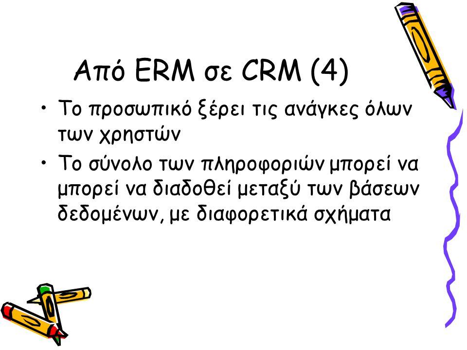 Από ERM σε CRM (4) Το προσωπικό ξέρει τις ανάγκες όλων των χρηστών Το σύνολο των πληροφοριών μπορεί να μπορεί να διαδοθεί μεταξύ των βάσεων δεδομένων, με διαφορετικά σχήματα