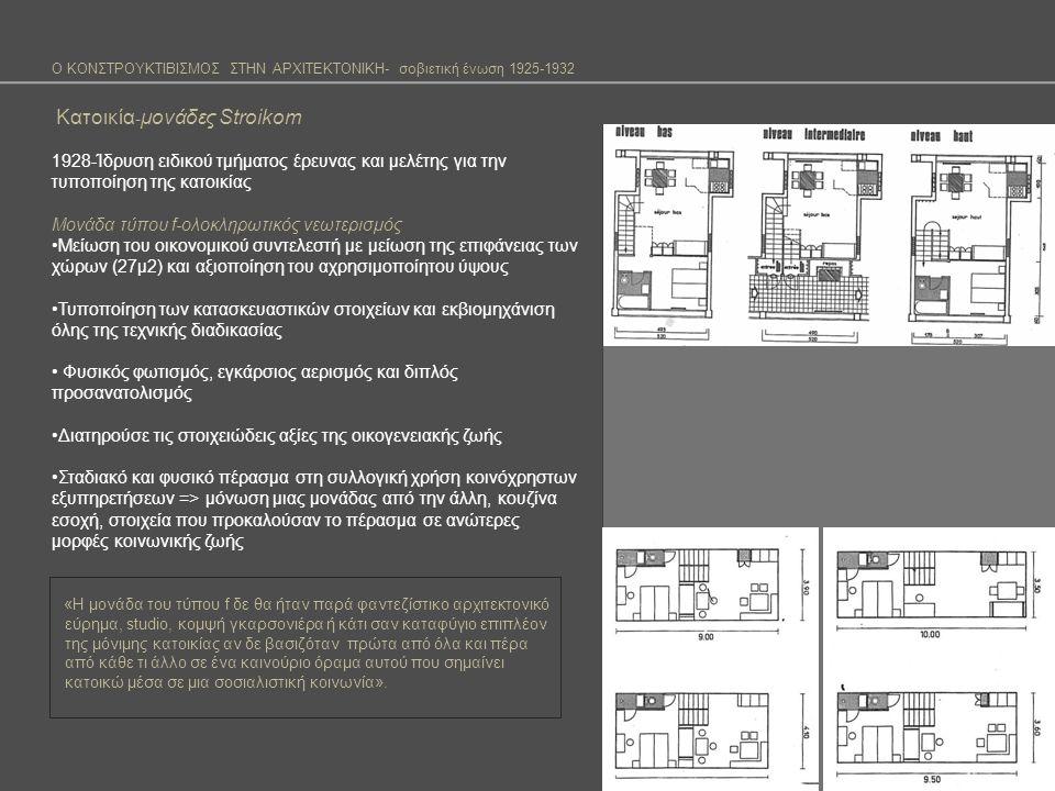 Ο ΚΟΝΣΤΡΟΥΚΤΙΒΙΣΜΟΣ ΣΤΗΝ ΑΡΧΙΤΕΚΤΟΝΙΚΗ- σοβιετική ένωση 1925-1932 Κατοικία - μονάδες Stroikom 1928-Ίδρυση ειδικού τμήματος έρευνας και μελέτης για την