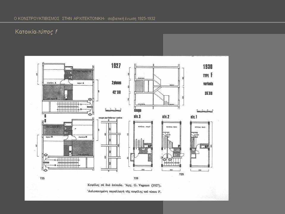 Ο ΚΟΝΣΤΡΟΥΚΤΙΒΙΣΜΟΣ ΣΤΗΝ ΑΡΧΙΤΕΚΤΟΝΙΚΗ- σοβιετική ένωση 1925-1932 Κατοικία - Σπίτι κοινότητα (Dom Kommouna) Σκοπός δημιουργίας του σπιτιού-κοινότητας Απελευθέρωση της γυναικάς από το βάρος της δουλειάς του σπιτιού και συμμετοχή της στη διαδικασία παραγωγής Απόδοση συλλογικά ανέσεων που για οικονομικούς λογούς δε μπορούσαν να δοθούν ατομικά Επιθυμία να αλλάξει ο τρόπος ζωής Διαφορετικό σύστημα αξιών από την κληρονομιά του παλιού καθεστώτος (καταναλωτική κοινωνία) Οικονομικότερη λύση του προβλήματος της κατοικίας Το 1925 προκυρήσσεται διαγωνισμός για ένα σπίτι-κοινότητα και εμφανίστηκε έτσι για πρώτη φορά ο όρος.