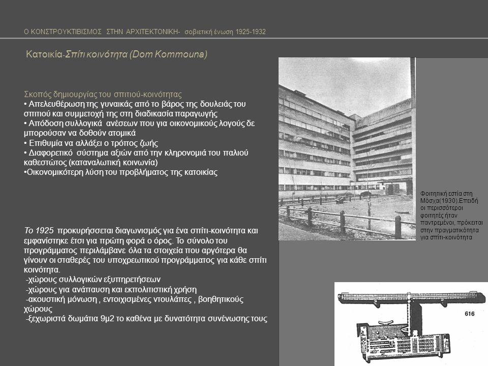 Ο ΚΟΝΣΤΡΟΥΚΤΙΒΙΣΜΟΣ ΣΤΗΝ ΑΡΧΙΤΕΚΤΟΝΙΚΗ- σοβιετική ένωση 1925-1932 Κατοικία - Σπίτι κοινότητα (Dom Kommouna) Το 1927 παρουσιάζονται για πρώτη φορά σχέδια-απάντηση για το σπίτι –κοινότητα στο διαγωνισμό της O.C.A.