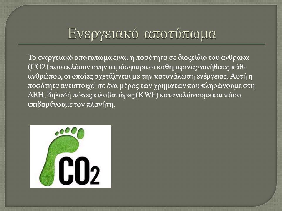 Το ενεργειακό αποτύπωμα είναι η ποσότητα σε διοξείδιο του άνθρακα (CO2) που εκλύουν στην ατμόσφαιρα οι καθημερινές συνήθειες κάθε ανθρώπου, οι οποίες