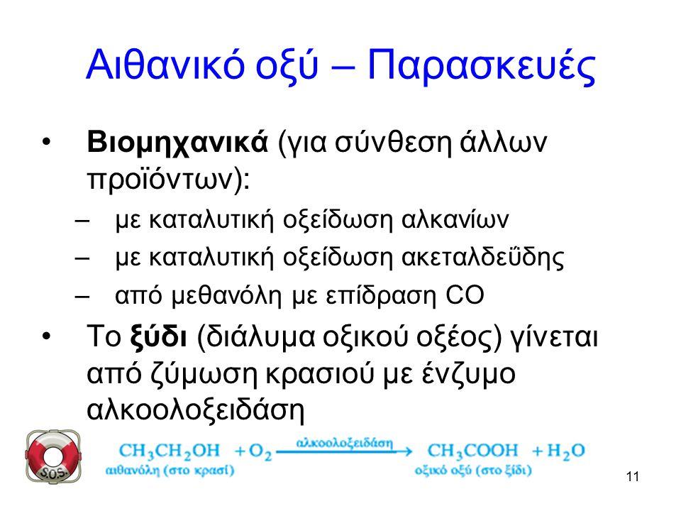 11 Αιθανικό οξύ – Παρασκευές Βιομηχανικά (για σύνθεση άλλων προϊόντων): –με καταλυτική οξείδωση αλκανίων –με καταλυτική οξείδωση ακεταλδεΰδης –από μεθανόλη με επίδραση CO Το ξύδι (διάλυμα οξικού οξέος) γίνεται από ζύμωση κρασιού με ένζυμο αλκοολοξειδάση