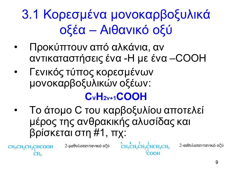 9 3.1 Κορεσμένα μονοκαρβοξυλικά οξέα – Αιθανικό οξύ Προκύπτουν από αλκάνια, αν αντικαταστήσεις ένα -Η με ένα –COOH Γενικός τύπος κορεσμένων μονοκαρβοξυλικών οξέων: C v H 2v+1 COOΗ Το άτομο C του καρβοξυλίου αποτελεί μέρος της ανθρακικής αλυσίδας και βρίσκεται στη #1, πχ: