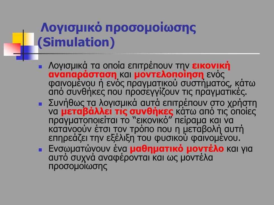Λογισμικό προσομοίωσης (Simulation) Λογισμικά τα οποία επιτρέπουν την εικονική αναπαράσταση και μοντελοποίηση ενός φαινομένου ή ενός πραγματικού συστή