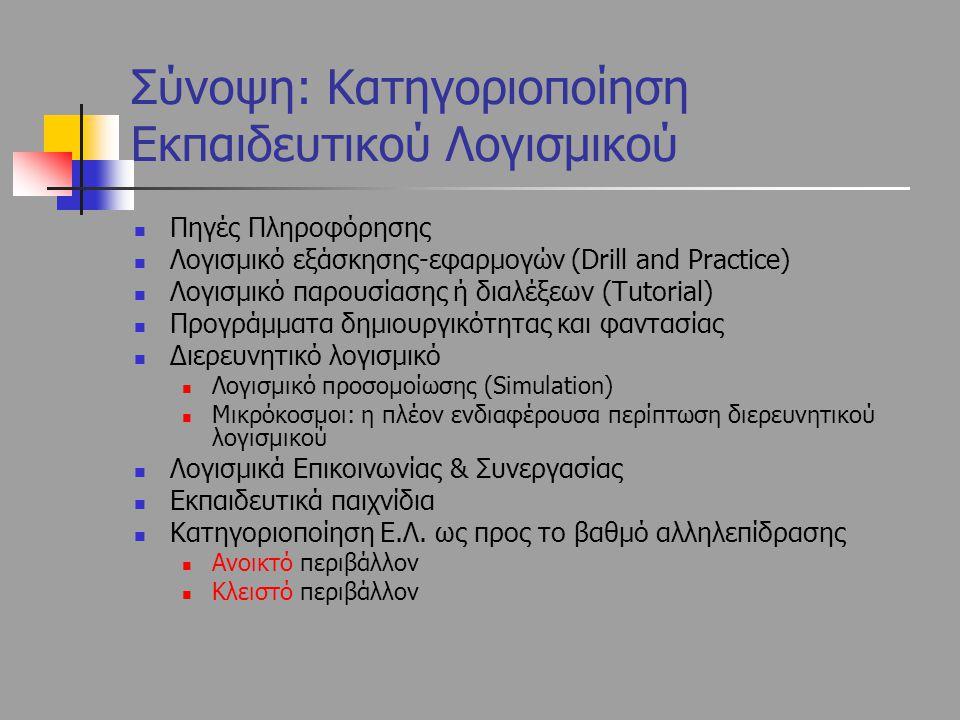 Σύνοψη: Κατηγοριοποίηση Εκπαιδευτικού Λογισμικού Πηγές Πληροφόρησης Λογισμικό εξάσκησης-εφαρμογών (Drill and Practice) Λογισμικό παρουσίασης ή διαλέξε