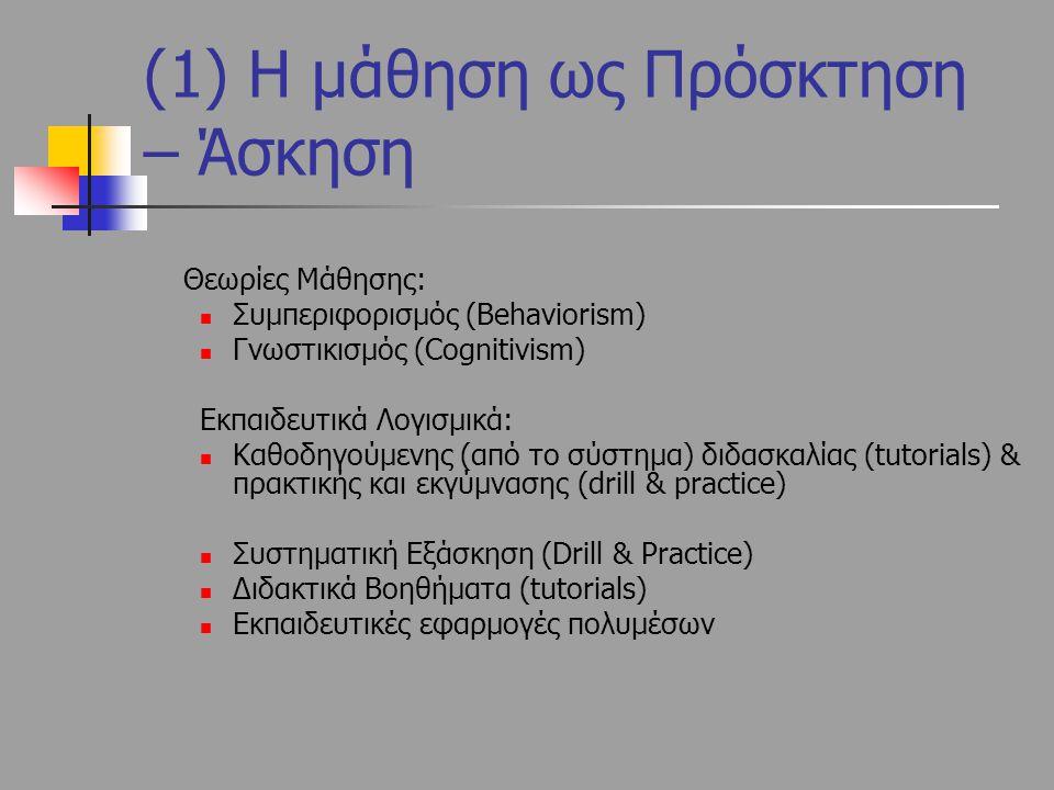 (1) Η μάθηση ως Πρόσκτηση – Άσκηση Θεωρίες Μάθησης: Συμπεριφορισμός (Behaviorism) Γνωστικισμός (Cognitivism) Εκπαιδευτικά Λογισμικά: Καθοδηγούμενης (α