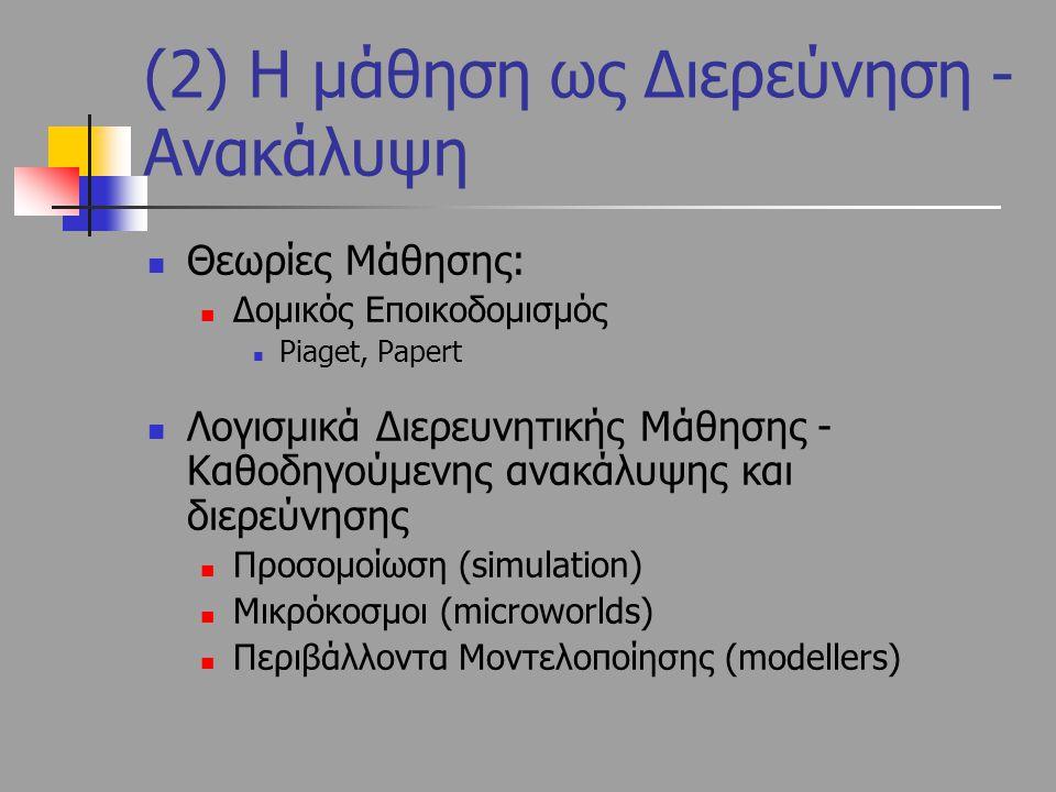 Θεωρίες Μάθησης: Δομικός Εποικοδομισμός Piaget, Papert Λογισμικά Διερευνητικής Μάθησης - Καθοδηγούμενης ανακάλυψης και διερεύνησης Προσομοίωση (simula