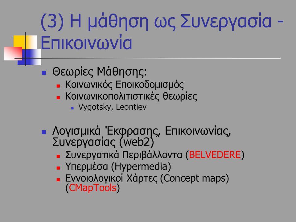 Θεωρίες Μάθησης: Κοινωνικός Εποικοδομισμός Κοινωνικοπολιτιστικές θεωρίες Vygotsky, Leontiev Λογισμικά Έκφρασης, Επικοινωνίας, Συνεργασίας (web2) Συνερ