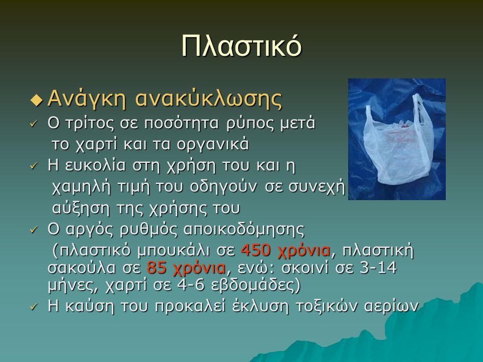 Πλαστικό  Ανάγκη ανακύκλωσης Ο τρίτος σε ποσότητα ρύπος μετά Ο τρίτος σε ποσότητα ρύπος μετά το χαρτί και τα οργανικά το χαρτί και τα οργανικά Η ευκο