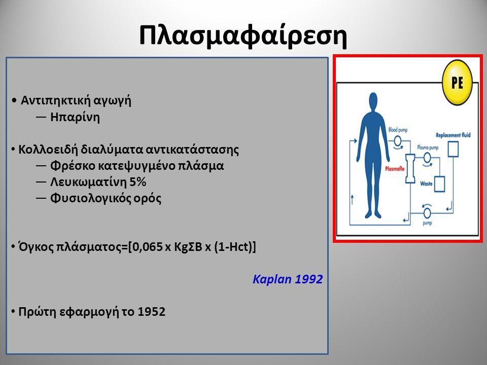 Πλασμαφαίρεση Αντιπηκτική αγωγή — Ηπαρίνη Κολλοειδή διαλύματα αντικατάστασης — Φρέσκο κατεψυγμένο πλάσμα — Λευκωματίνη 5% — Φυσιολογικός ορός Όγκος πλ