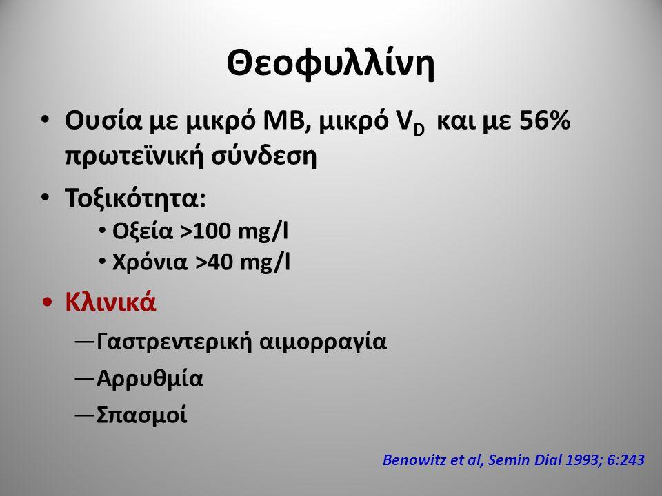 Θεοφυλλίνη Ουσία με μικρό ΜΒ, μικρό V D και με 56% πρωτεϊνική σύνδεση Τοξικότητα: Οξεία >100 mg/l Χρόνια >40 mg/l Κλινικά —Γαστρεντερική αιμορραγία —Α