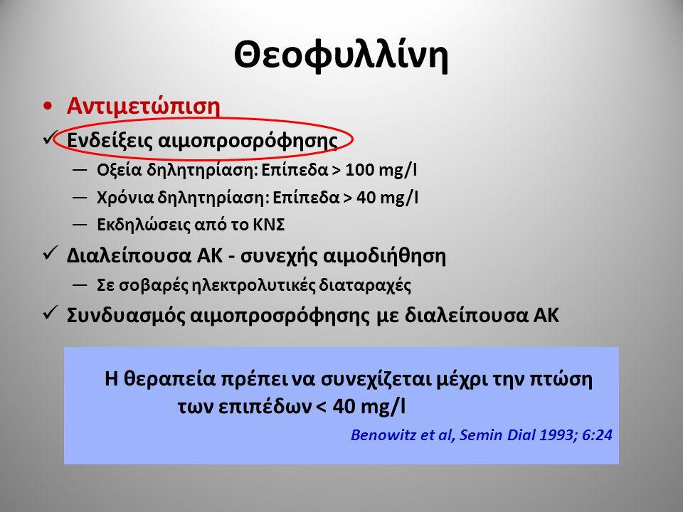 Θεοφυλλίνη Αντιμετώπιση Ενδείξεις αιμοπροσρόφησης —Οξεία δηλητηρίαση: Επίπεδα > 100 mg/l —Χρόνια δηλητηρίαση: Επίπεδα > 40 mg/l —Εκδηλώσεις από το ΚΝΣ