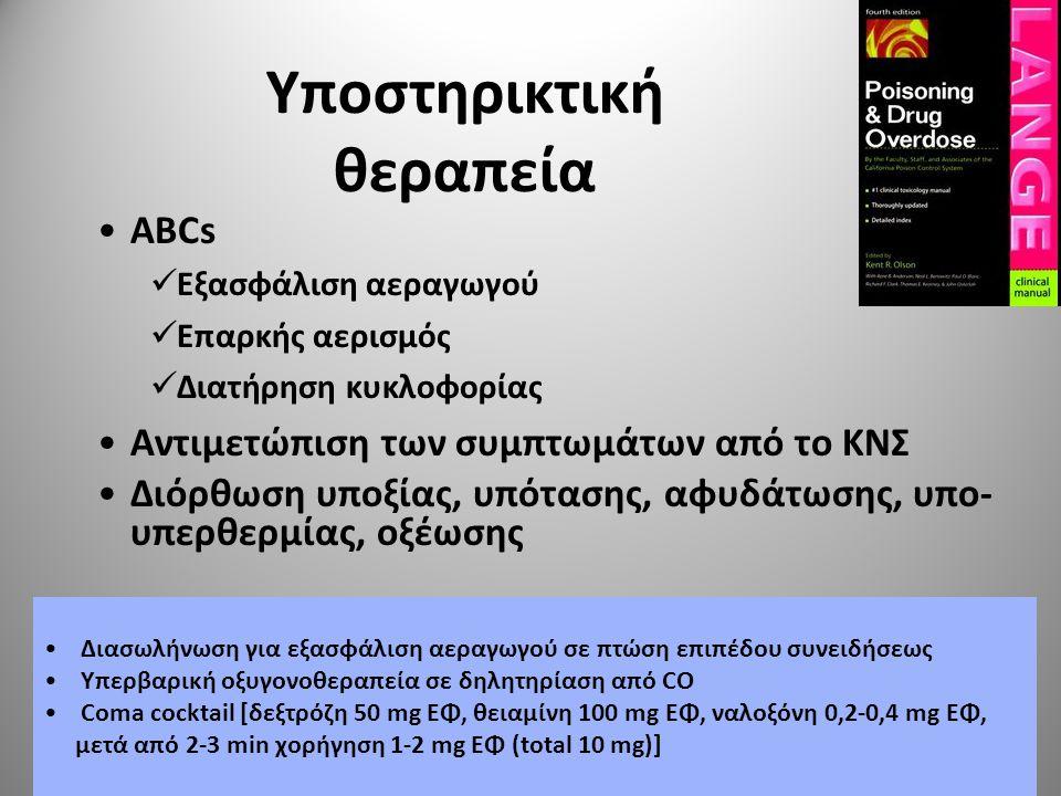 Διακοπή απορρόφησης Πλύση στομάχου — Σε πρόσφατη έκθεση (≤ 1 ώρα) — Αντενδείξεις  Διαβρωτικά μέσα, απώλεια αντανακλαστικών αεραγωγών ή συνείδησης, υδρογονάνθρακες, κίνδυνος αιμορραγίας ή διάτρησης πεπτικού οργάνου Ενεργός άνθρακας — 1 g/kgΣΒ σε νερό ή σε 70% σορβιτόλη p.o.