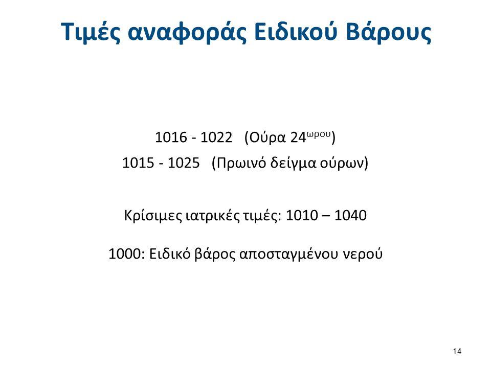 Τιμές αναφοράς Ειδικού Βάρους 1016 - 1022 (Ούρα 24 ωρου ) 1015 - 1025 (Πρωινό δείγμα ούρων) Κρίσιμες ιατρικές τιμές: 1010 – 1040 1000: Ειδικό βάρος απ