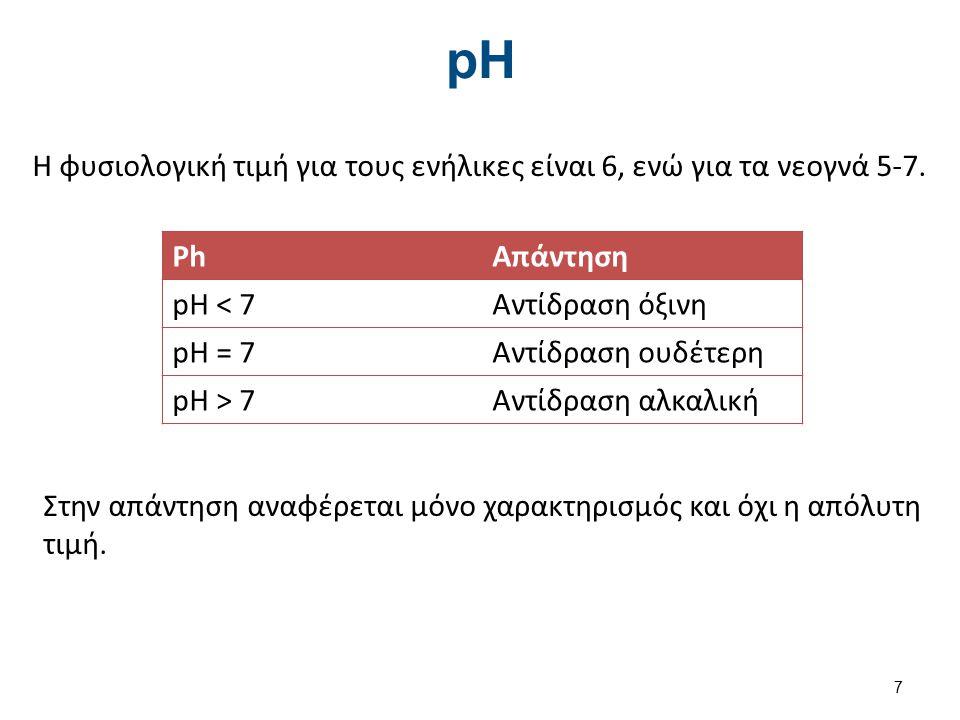 pH Η φυσιολογική τιμή για τους ενήλικες είναι 6, ενώ για τα νεογνά 5-7. PhΑπάντηση pH < 7Αντίδραση όξινη pH = 7Αντίδραση ουδέτερη pH > 7Αντίδραση αλκα