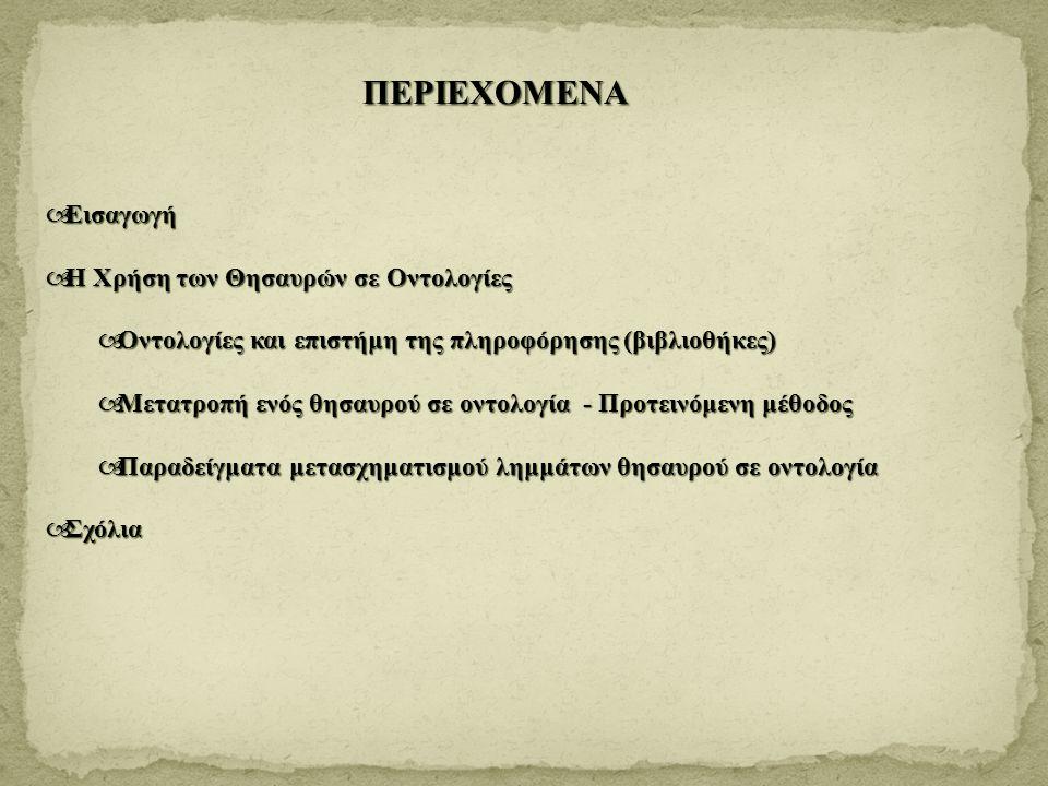 ΠΕΡΙΕΧΟΜΕΝΑ  Εισαγωγή  Η Χρήση των Θησαυρών σε Οντολογίες  Οντολογίες και επιστήμη της πληροφόρησης (βιβλιοθήκες)  Μετατροπή ενός θησαυρού σε οντο