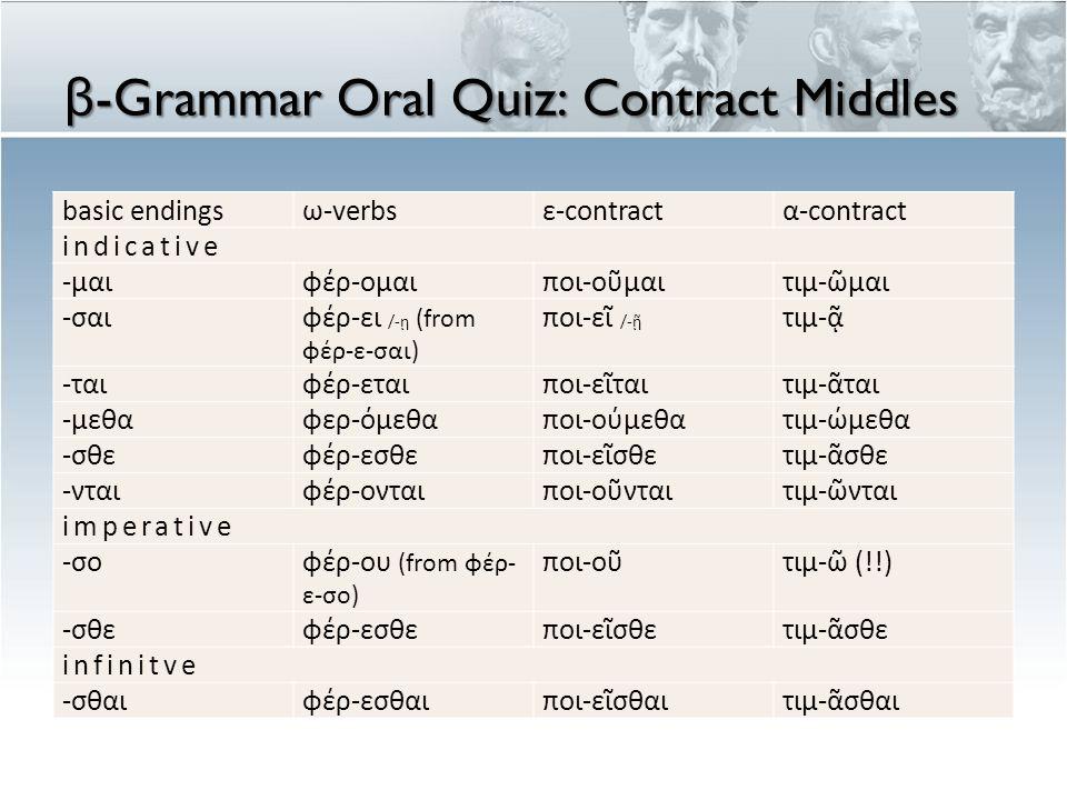 β -Grammar Oral Quiz: Contract Middles basic endingsω-verbsε-contractα-contract indicative -μαιφέρ-ομαιποι-οῦμαιτιμ-ῶμαι -σαιφέρ-ει /-ῃ (from φέρ-ε-σαι) ποι-εῖ /-ῇ τιμ-ᾷ -ταιφέρ-εταιποι-εῖταιτιμ-ᾶται -μεθαφερ-όμεθαποι-ούμεθατιμ-ώμεθα -σθεφέρ-εσθεποι-εῖσθετιμ-ᾶσθε -νταιφέρ-ονταιποι-οῦνταιτιμ-ῶνται imperative -σοφέρ-ου (from φέρ- ε-σο) ποι-οῦτιμ-ῶ (!!) -σθεφέρ-εσθεποι-εῖσθετιμ-ᾶσθε infinitve -σθαιφέρ-εσθαιποι-εῖσθαιτιμ-ᾶσθαι