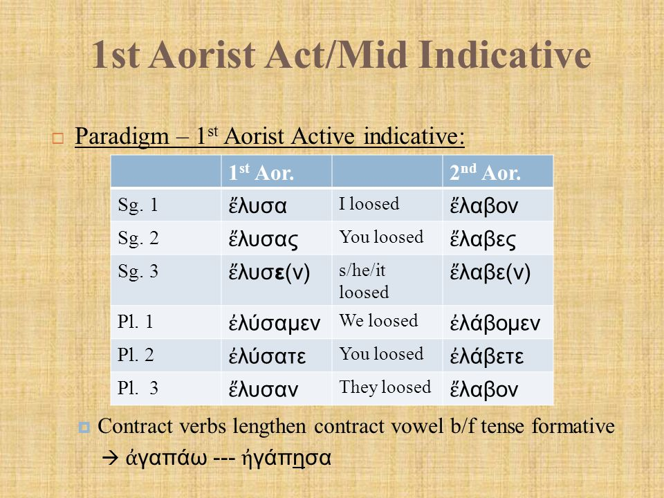 1st Aorist Act/Mid Indicative  Paradigm – 1 st Aorist Active indicative:  Contract verbs lengthen contract vowel b/f tense formative  ἀ γαπάω --- ἠ
