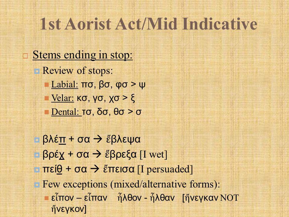 1st Aorist Act/Mid Indicative  Liquid Aorist Active:  Formation: Aug.