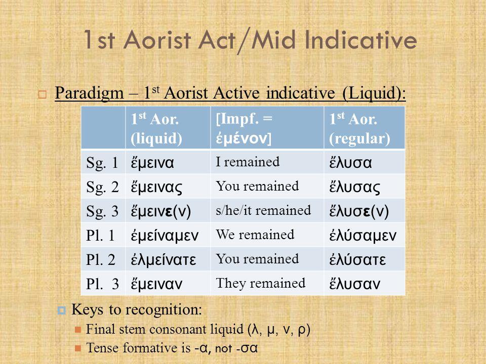 1st Aorist Act/Mid Indicative  Paradigm – 1 st Aorist Active indicative (Liquid):  Keys to recognition: Final stem consonant liquid (λ, μ, ν, ρ) Ten