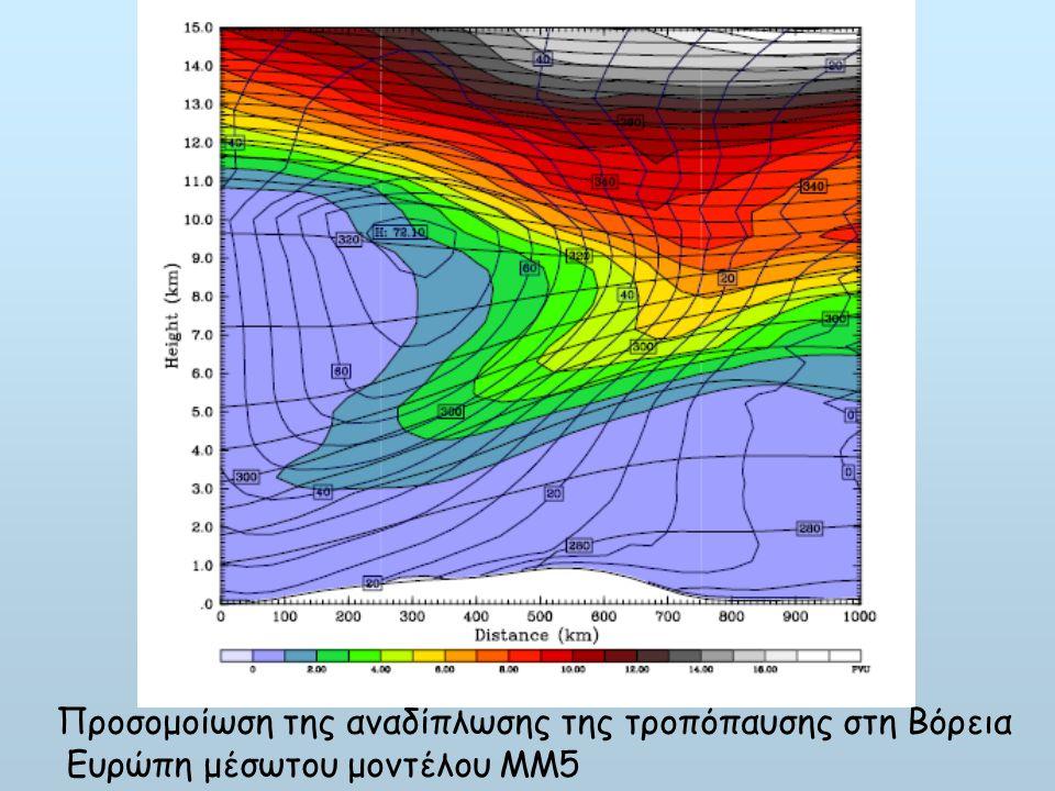Προσομοίωση της αναδίπλωσης της τροπόπαυσης στη Βόρεια Ευρώπη μέσωτου μοντέλου ΜΜ5