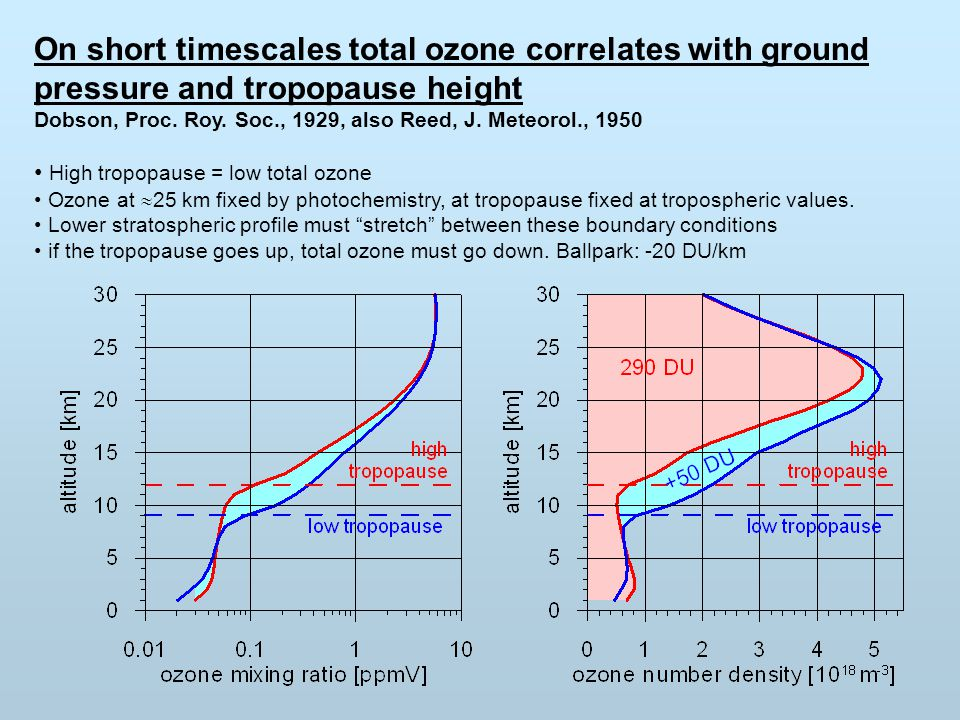 On short timescales total ozone correlates with ground pressure and tropopause height Dobson, Proc.