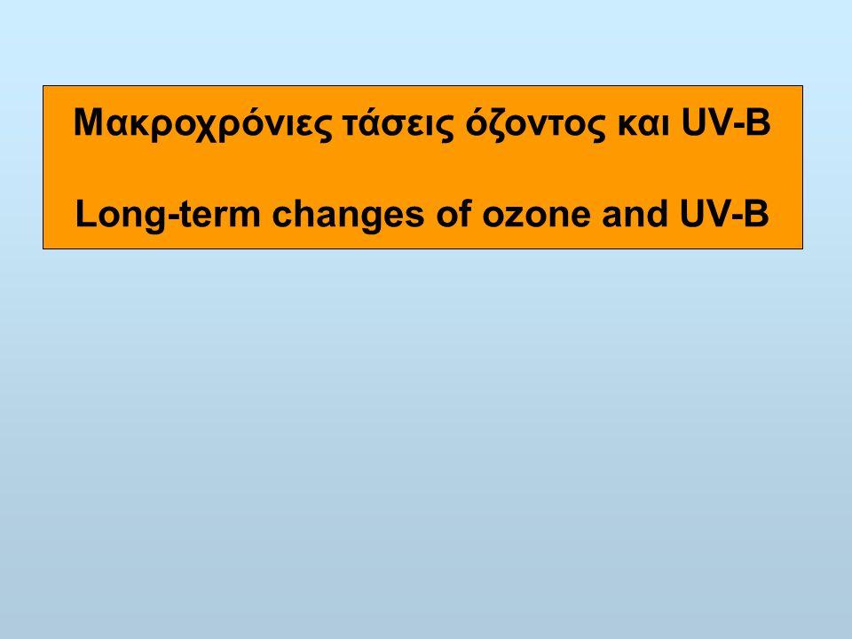 Μακροχρόνιες τάσεις όζοντος και UV-B Long-term changes of ozone and UV-B