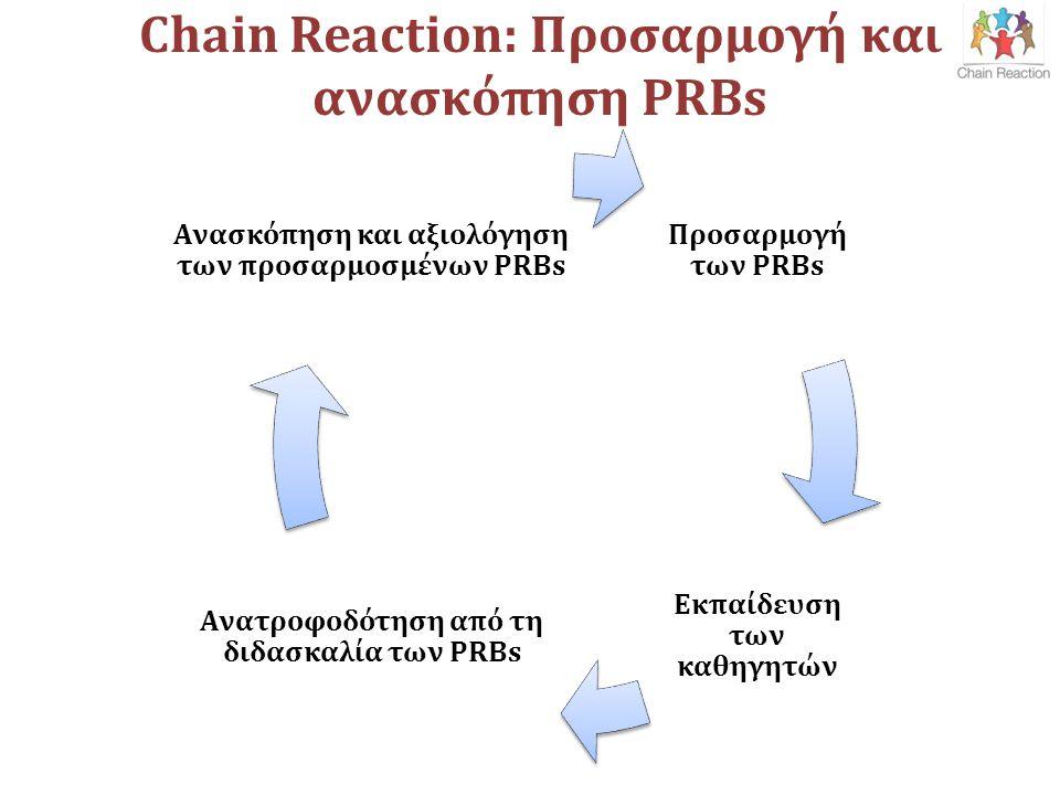 Chain Reaction: Προσαρμογή και ανασκόπηση PRBs Προσαρμογή των PRBs Εκπαίδευση των καθηγητών Ανατροφοδότηση από τη διδασκαλία των PRBs Ανασκόπηση και αξιολόγηση των προσαρμοσμένων PRBs