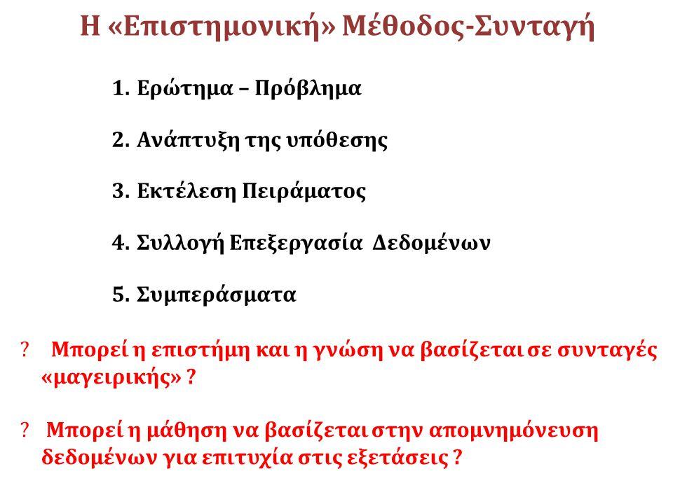 Η «Επιστημονική» Μέθοδος-Συνταγή 1.Ερώτημα – Πρόβλημα 2.Ανάπτυξη της υπόθεσης 3.Εκτέλεση Πειράματος 4.Συλλογή Επεξεργασία Δεδομένων 5.Συμπεράσματα ? Μ