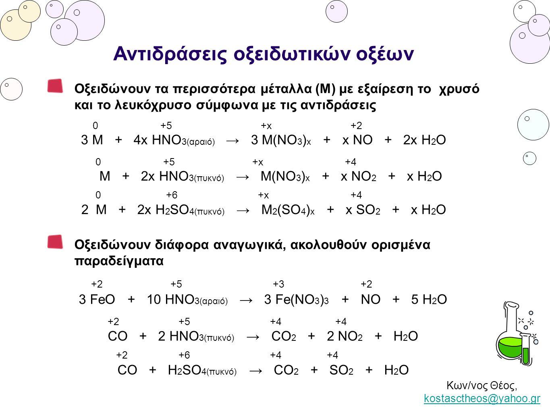 Κων/νος Θέος, kostasctheos@yahoo.gr kostasctheos@yahoo.gr Αντιδράσεις οξειδωτικών οξέων Οξειδώνουν στερεά αμέταλλα σύμφωνα με τον πίνακα που ακολουθεί AMΕΤΑΛΛΟ →CSPI2I2 αραιό ΗΝΟ 3 -H 2 SO 4 H 3 PO 4 - πυκνό ΗΝΟ 3 CO 2 H 2 SO 4 H 3 PO 4 HIO 3 πυκνό Η 2 SO 4 CO 2 SO 2 H 3 PO 4 - +5 0 +6 +2 2 ΗΝΟ 3 αραιό + S → H 2 SO 4 + 2 NO + H 2 O 0 +5 +4 +4 C + 4 HNO 3 πυκνό → CO 2 + 4 NO 2 + 2 H 2 O 0 +6 +5 +4 2 P + 5 H 2 SO 4 πυκνό → 2 H 3 PO 4 + 5 SO 2 + 2 H 2 O