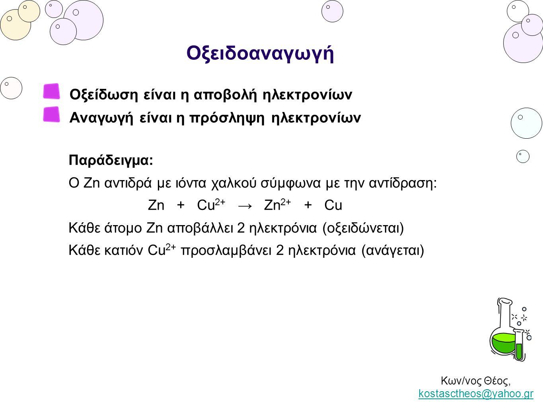 Κων/νος Θέος, kostasctheos@yahoo.gr kostasctheos@yahoo.gr Οξειδοαναγωγή Οξείδωση είναι η αύξηση του αριθμού οξείδωσης Αναγωγή είναι η μείωση του αριθμού οξείδωσης Αριθμός οξείδωσης ενός ιόντος ετεροπολικής ένωσης ονομάζεται το πραγματικό φορτίο του ιόντος.