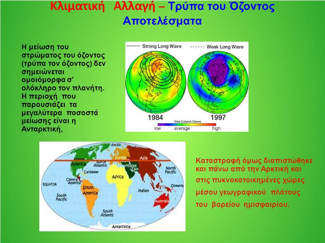 Κλιματική Αλλαγή – Τρύπα του Όζοντος Αποτελέσματα Η μείωση του στρώματος του όζοντος (τρύπα τον όζοντος) δεν σημειώνεται ομοιόμορφα σ' ολόκληρο τον πλ