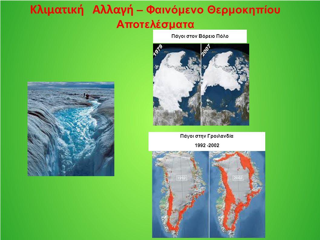 Κλιματική Αλλαγή – Φαινόμενο Θερμοκηπίου Αποτελέσματα Πάγοι στον Βόρειο Πόλο Πάγοι στην Γροιλανδία 1992 -2002