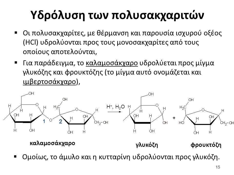 Υδρόλυση των πολυσακχαριτών  Οι πολυσακχαρίτες, με θέρμανση και παρουσία ισχυρού οξέος (HCl) υδρολύονται προς τους μονοσακχαρίτες από τους οποίους απ