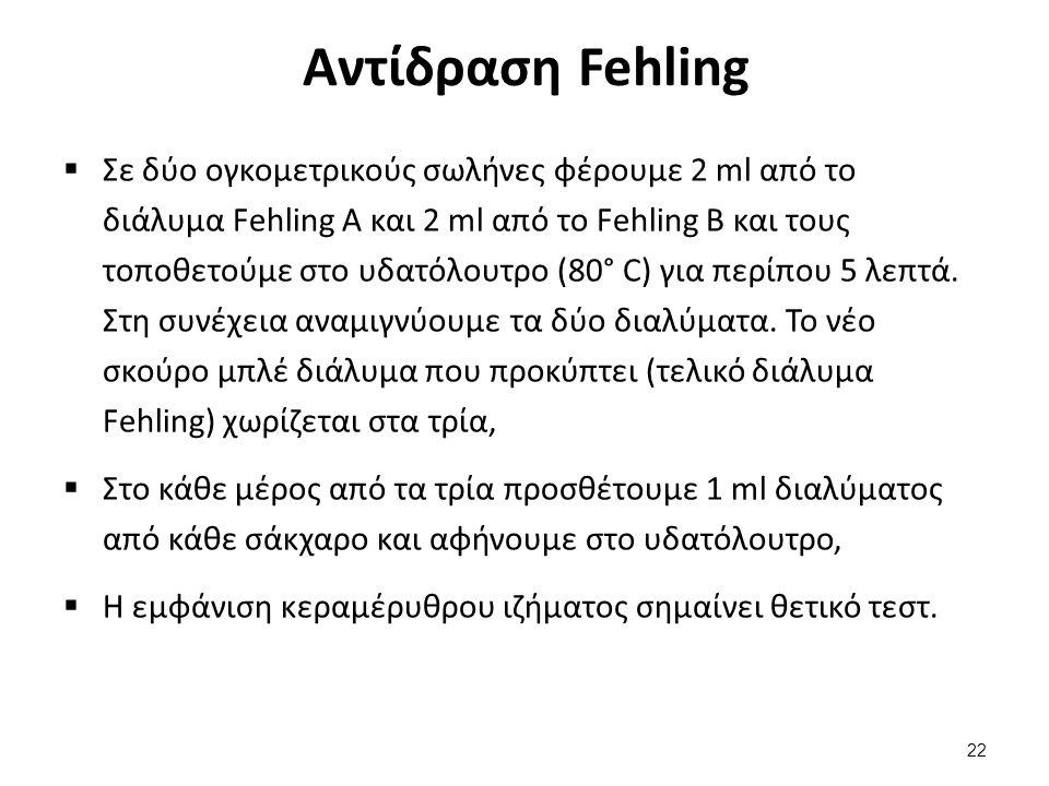 Αντίδραση Fehling  Σε δύο ογκομετρικούς σωλήνες φέρουμε 2 ml από το διάλυμα Fehling Α και 2 ml από το Fehling Β και τους τοποθετούμε στο υδατόλουτρο