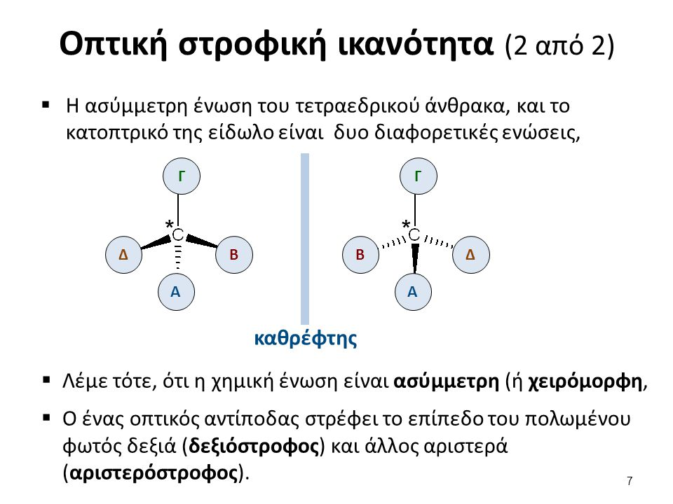 Οπτική στροφική ικανότητα (2 από 2)  Η ασύμμετρη ένωση του τετραεδρικού άνθρακα, και το κατοπτρικό της είδωλο είναι δυο διαφορετικές ενώσεις, Β Γ Δ *