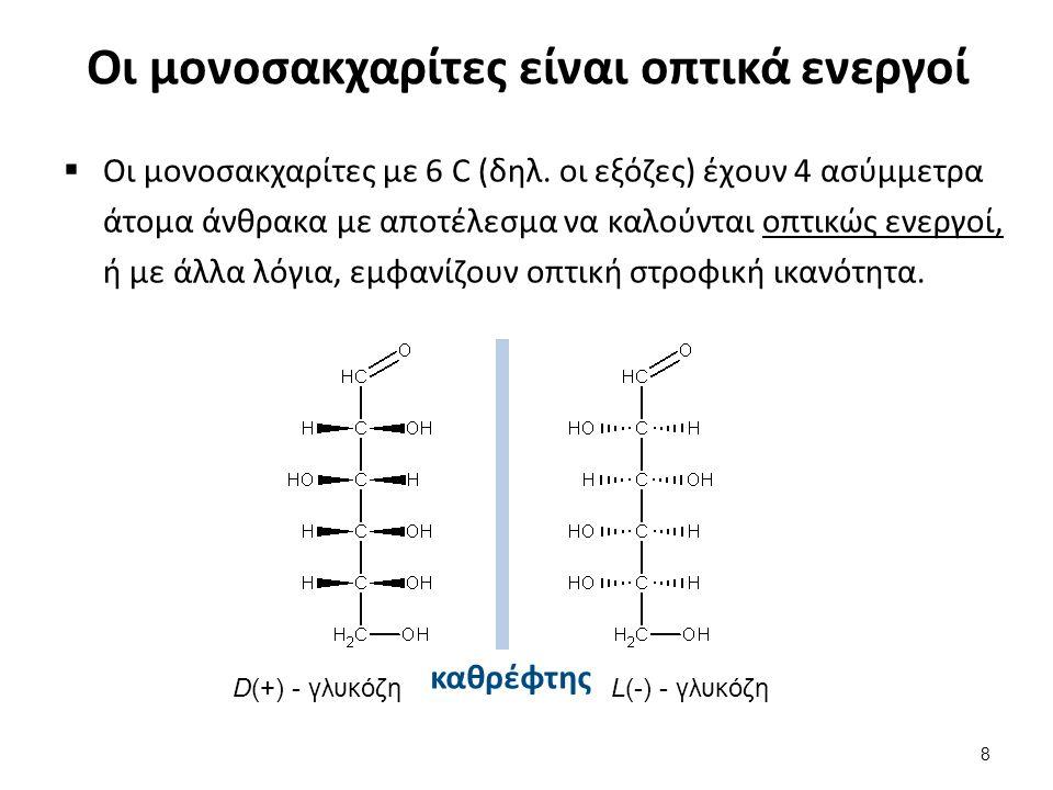 Οι μονοσακχαρίτες είναι οπτικά ενεργοί  Οι μονοσακχαρίτες με 6 C (δηλ. οι εξόζες) έχουν 4 ασύμμετρα άτομα άνθρακα με αποτέλεσμα να καλούνται οπτικώς