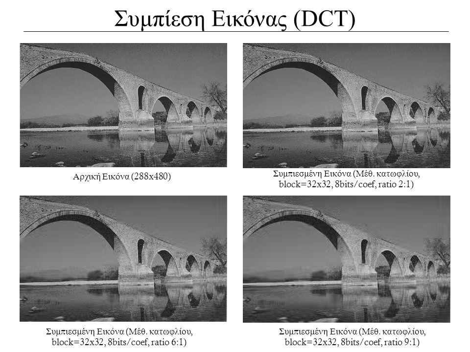 Συμπίεση Εικόνας (DCT) Αρχική Εικόνα (288x480) Συμ π ιεσμένη Εικόνα ( Μέθ. κατωφλίου, block=32x32, 8bits/coef, ratio 2:1) Συμ π ιεσμένη Εικόνα ( Μέθ.