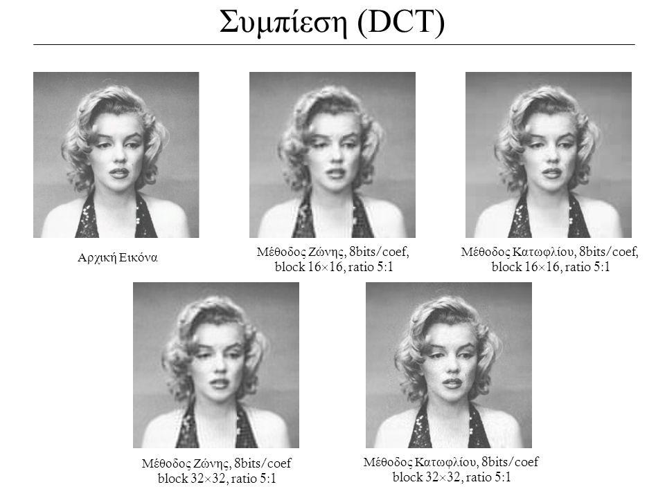 Συμπίεση (DCT) Αρχική Εικόνα Μέθοδος Ζώνης, 8bits/coef, block 16  16, ratio 5:1 Μέθοδος Ζώνης, 8bits/coef block 32  32, ratio 5:1 Μέθοδος Κατωφλίου,