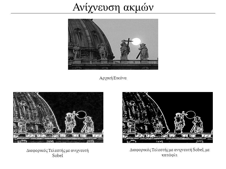 Ανίχνευση ακμών Αρχική Εικόνα Διαφορικός Τελεστής με ανιχνευτή Sobel Διαφορικός Τελεστής με ανιχνευτή Sobel, με κατώφλι