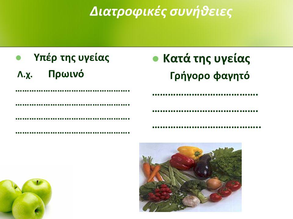 Διατροφικές συνήθειες Υπέρ της υγείας Λ.χ.Πρωινό ………………………………………….
