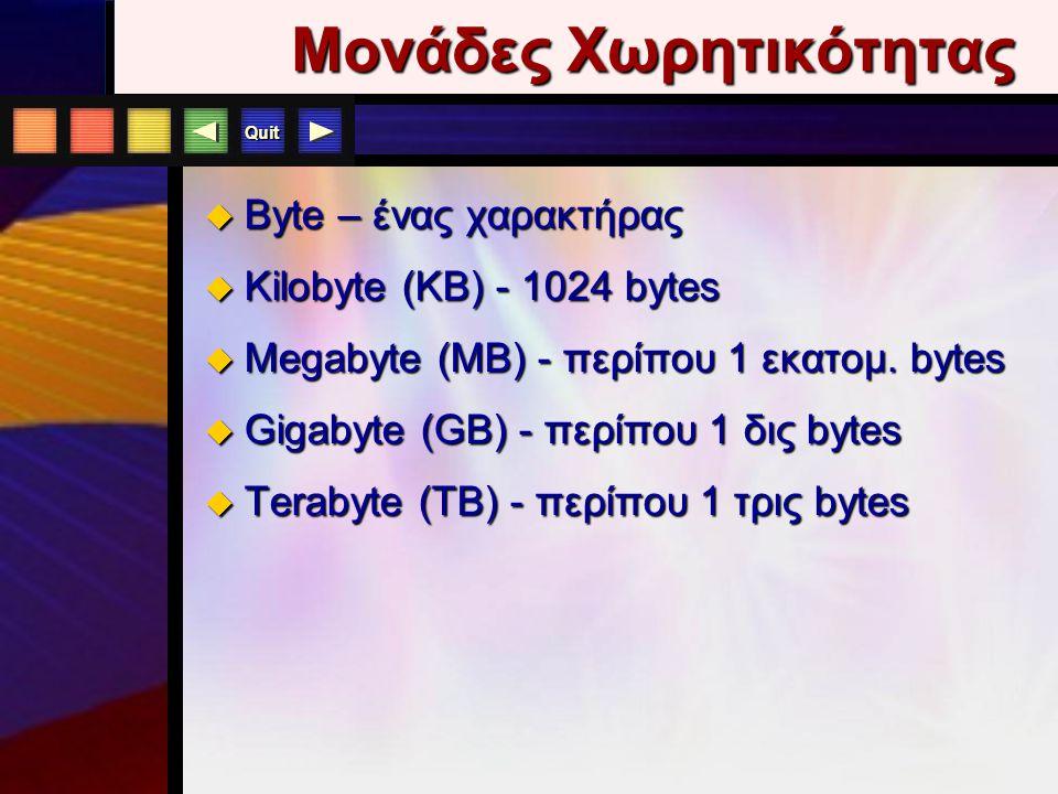 Quit 3.13 Χαρακτηριστικά Ε π εξεργαστή  Μέγεθος Εντολών/Δεδομένων 64-bit για PCs 64-bit για PCs  Ταχύτητα MHz, MIPS, FLOPS MHz, MIPS, FLOPS 750 MHz
