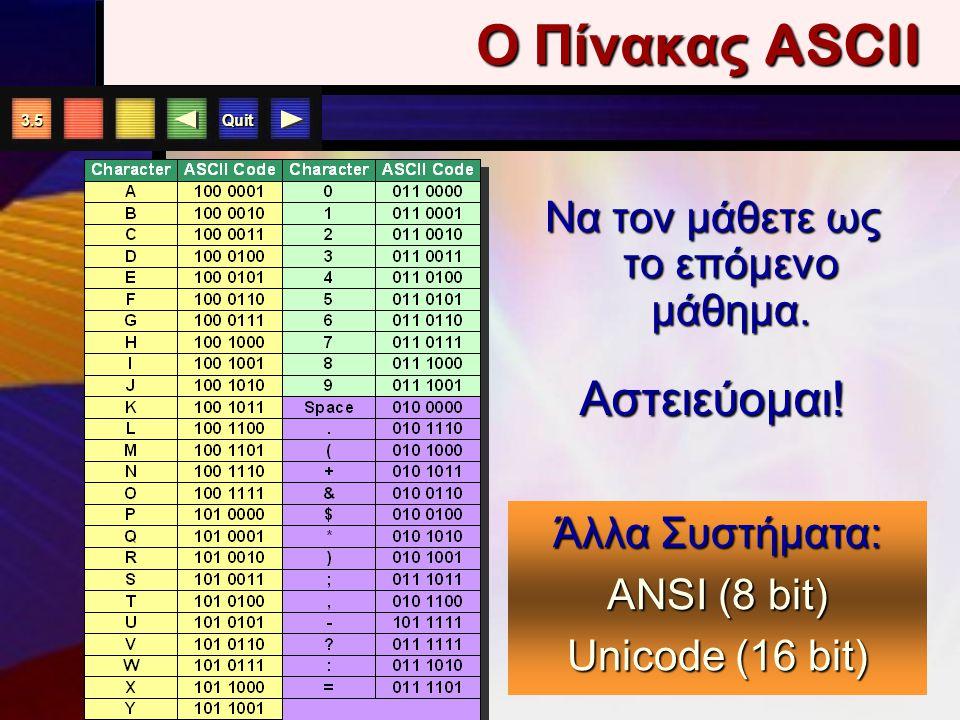 """Quit 3.4 Συστήματα Κωδικο π οίησης Το """"A"""" αναπαρίσταται από την ακολουθία 1 byte= 8 bits Το """"A"""" αναπαρίσταται από την ακολουθία 1 byte= 8 bits 0100000"""
