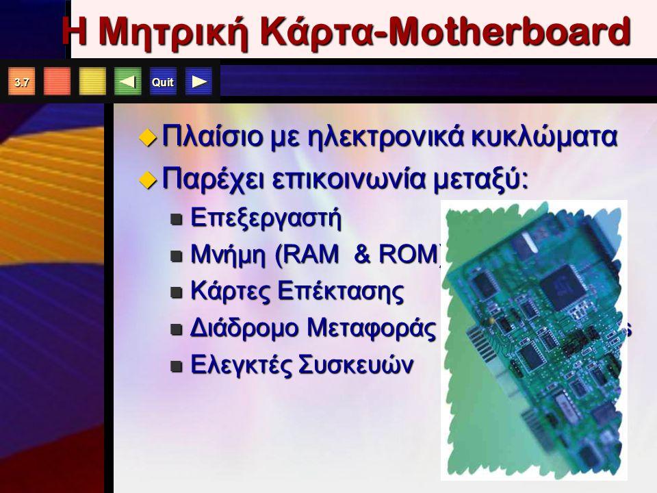 Quit 3.6 Η Μονάδα Συστήματος ενός Η / Υ Μητρική Κάρτα Επεξεργαστής RAM Κάρτες Επέκτασης ΜονάδεςΑποθήκευσης Σκληρός Δίσκος Μονάδα Δισκέττας CD-ROM/ DVD